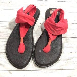 Sanuk Yoga Mat sling sandals Coral Pink size 9